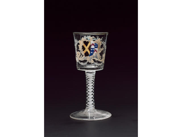 An important and previously unrecorded Beilby armorial goblet circa 1765