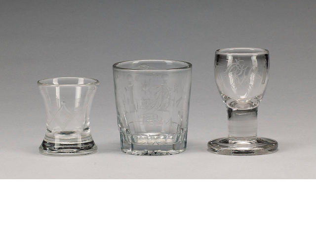 A group of six glasses of Masonic interest, 19th century,