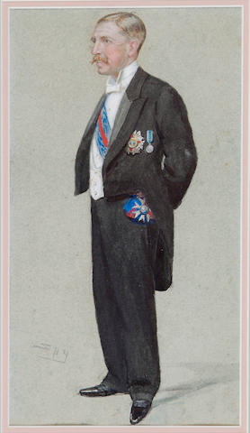 Spy (Leslie Matthew Ward) (1851-1922), Full length portrait of Sir Walter Francis Hely-Hutchinson, Governor of Natal, South Africa, wearing the regalia of the Most Distinguished Order of St Michael and St George, 31 x 17cm.