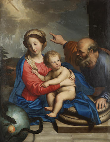 Pierre Mignard (Troyes 1612-1695 Paris) The Holy Family with symbols of the Redemption 126.5 x 102 c