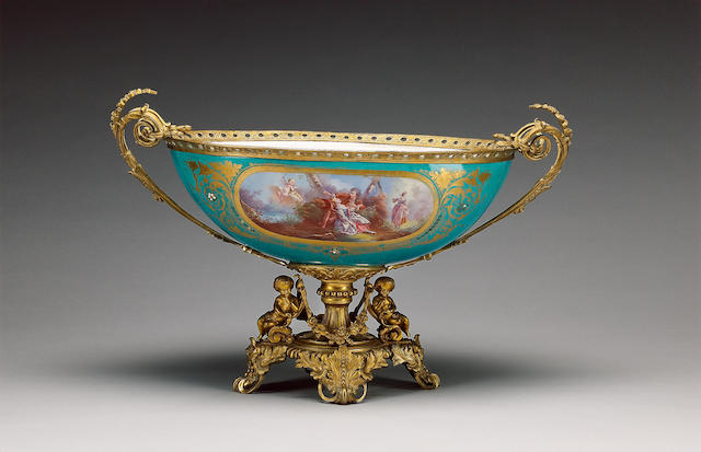 A large gilt metal mounted Sevres style centrepiece, circa 1880,