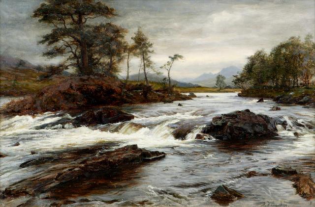 Joseph Farquharson RA (1846-1935) A Highland River (possibly the Garry) 51 x 77cm (20 x 30ins)