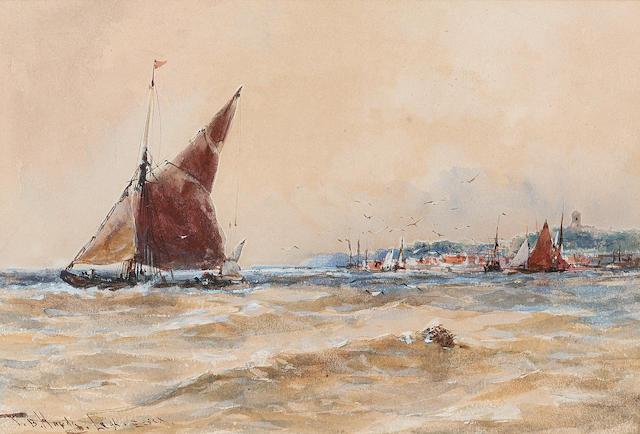 Thomas Bush Hardy (British, 1842-1897) 'Leigh, Essex' 14.6 x 21.6cm. (5 3/4 x 8 1/2in.)