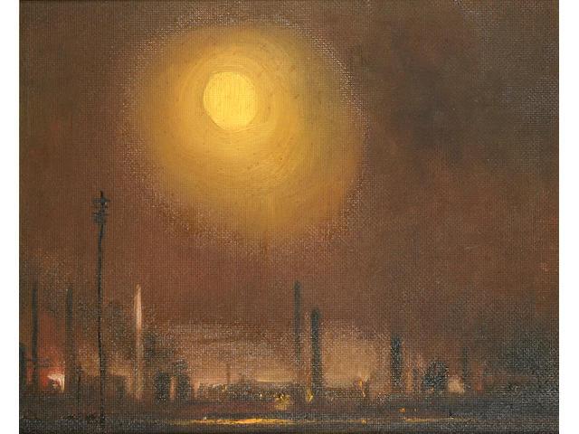 Theodore Major (1908-1999) Telegraph poles, chimneys and setting sun, 31 x 38cm.