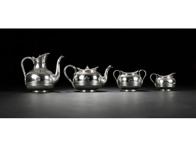 A Victorian four piece tea and coffee service, by Sidray, Hall & Co, Sheffield 1881,