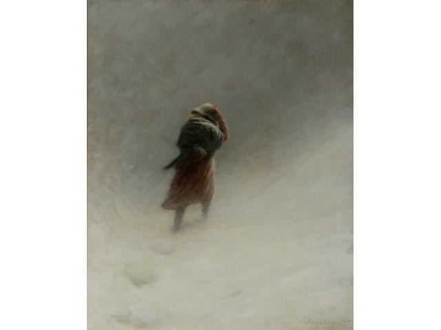 Joseph Farquharson RA (1846-1935) The Blizzard 60cm x 48cm (24 x 19ins)
