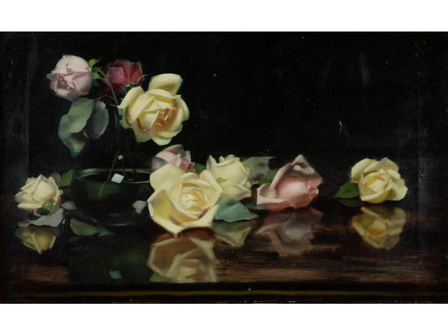 James Stuart Park (1862-1933) Pink and yellow roses 40 x 65cm (16 x 25.5ins)
