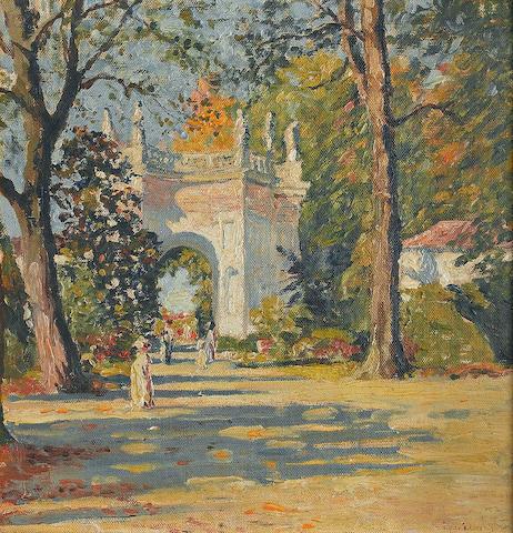 Edgar Wood (1860 - 1935) An Italian garden, 36 x 30cm.
