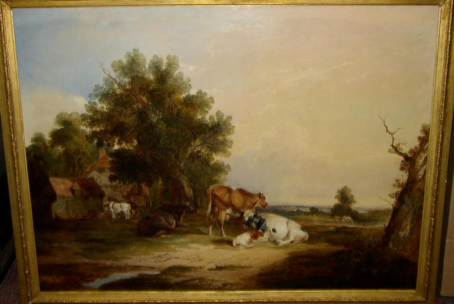 Follower of Thomas Sidney Cooper RA (1803-1902) British and Frederick Richard Lee RA (1798-1879) British Cattle and calf resting in a landscape, a horse and cart beyond,