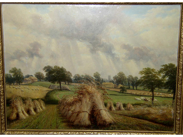 Thomas Baker of Leamington (1809-1869) British 'Cornfield near Warwick',