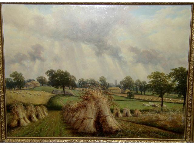 Thomas Baker of Leamington (1809-1869) British 'Cornfield near Warwick',
