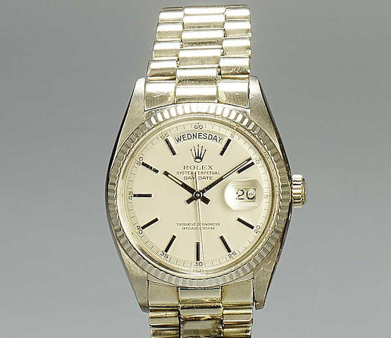 Rolex. An 18ct white gold automatic centre seconds calendar bracelet watch Oyster Perpetual Day-Date, Ref:1803,