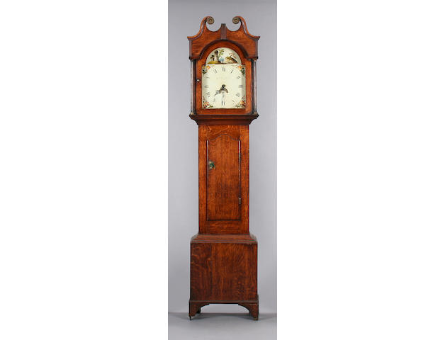 An oak painted dial thirty-hour longcase clock, William Lloyd, Brecon, circa 1830,