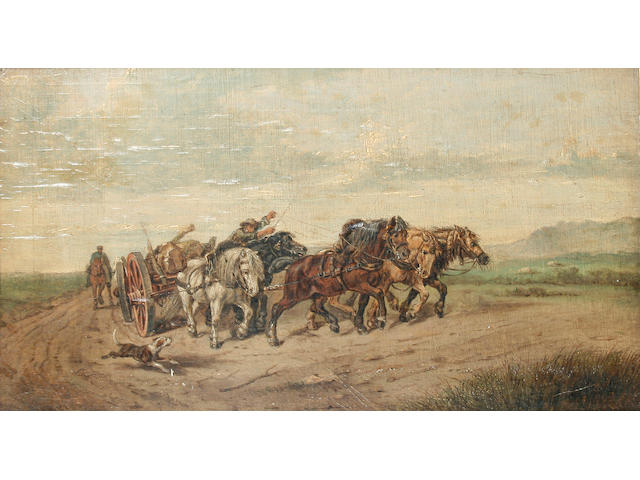Richard Beavis (1824 - 1896) Hauling timber, 25.5 x 45.5cm.