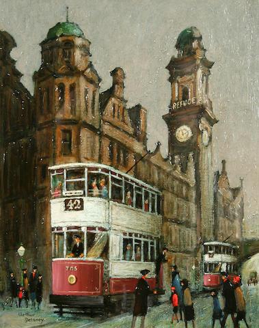 Arthur Delaney (1927 - 1987) Trams, King Street, Manchester, 30.5 x 24cm.