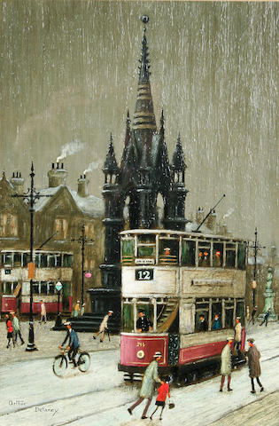 Arthur Delaney (1927 - 1987) 'Trams, Albert Square', 36 x 24cm.