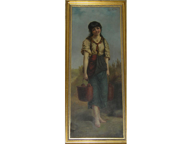 Luigi Sagrado (19th/20th century) Italian, Gypsy girl carrying water-pails,