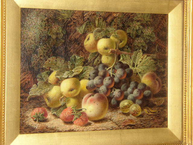 Oliver Clare (1853-1927) British Black grapes, apples, peaches, strawberries and gooseberries against a bank; plums, greengages in a punnet, raspberries, white currants and an apple against a mossy bank,