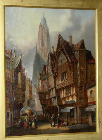 Follower of David Roberts RA (1796 - 1864) British A continental town scene with cathedral beyond,