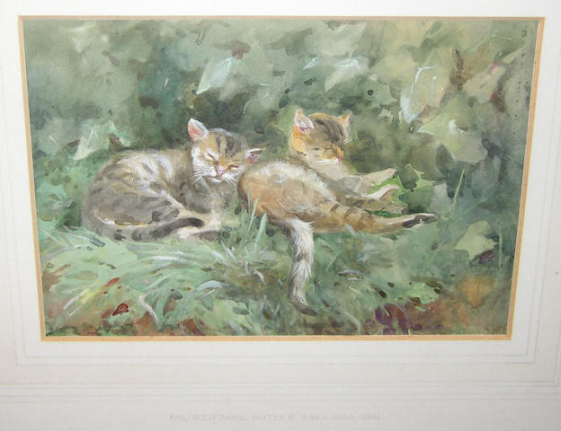 Mildred Anne Butler RWS (1858-1941) Irish Two tabbies resting on a leafy bank,