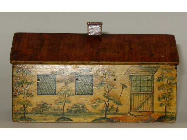 A rare late 18th century painted reel and sewing box in the form of a single storey whitewashed cottage