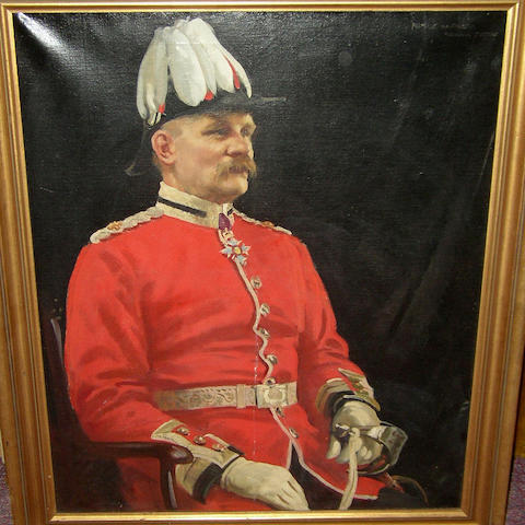 Frederic Whiting RSW, RI (1874-1962) British Posthumous portrait of a Lieutenant Colonel, half length, seated, wearing scarlet regimented tunic, plumed hat and CBE at his collar,