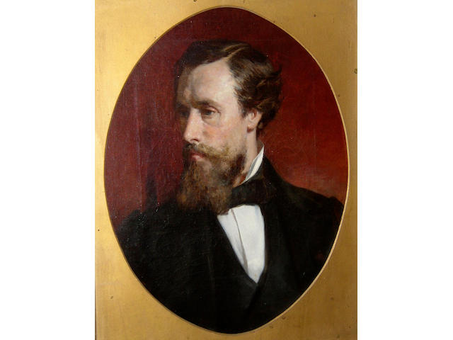 James Lobley (1829-1888) British, Portrait of a bearded gentleman, bust length, wearing a white shirt and a black coat; portrait of a lady, bust length, wearing a black dress with white lace collar and pendant around her neck,