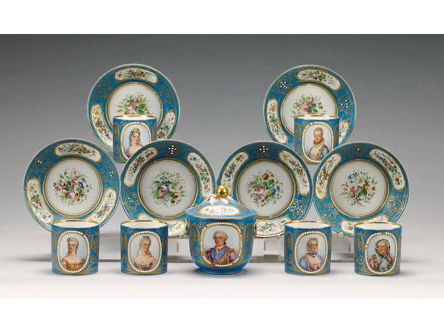 A set of six Sevres style turquoise ground cabinet cups and saucers and a matching sucrier and cover, late 19th century,