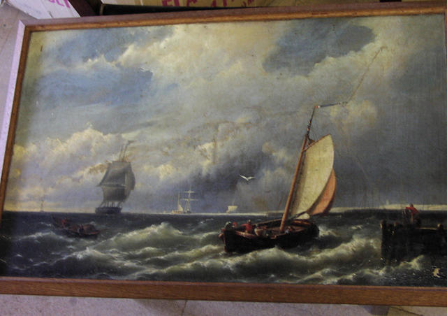 Hermanus Koekkoek Jnr (1836-1901) Shipping off a pier and coastline on a stormy day, 37 x 61cm. (a/f)