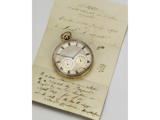 A fine and rare 18ct gold open faced calendar pocket watch, originally sold on the 29th January 1819 to Lord Dartmouth, whilst staying at the Hotel Mirabeau, Rue de la Paix, Paris.  Breguet No.3082 Case No.2227 by Joly