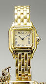 Cartier. A lady's 18ct gold quartz bracelet watch  Panthere, 1980s