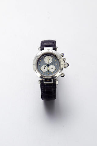 Cartier. A full size stainless steel quartz calendar chronograph wristwatch Pasha, 1997