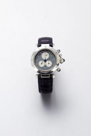 Cartier. A full size stainless steel quartz calendar chronograph wristwatch Pasha, 1997