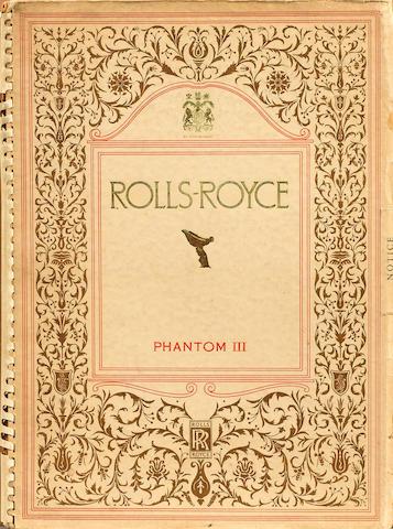 A Rolls-Royce Phantom III sales catalogue, July 1936,