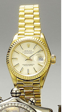 Rolex. An 18ct gold automatic lady's bracelet watch  Datejust, Ref:69000A, 1990s
