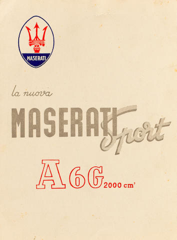 A rare sales brochure for the Maserati Sport A6G 2000, 1951,