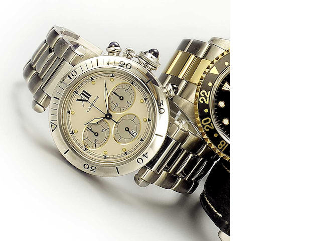 Cartier. A stainless steel quartz chronograph wristwatch  Pasha, 1990s