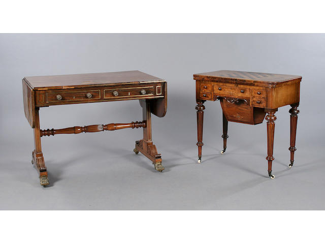 A good George IV/William IV rosewood games/sofa table by Gillows of Lancaster