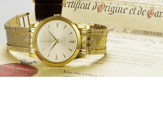 Vacheron and Constantin. A fine 18ct gold automatic centre seconds bracelet watch Ref:6378, Movement No.557933,Case No.387498, circa 1963