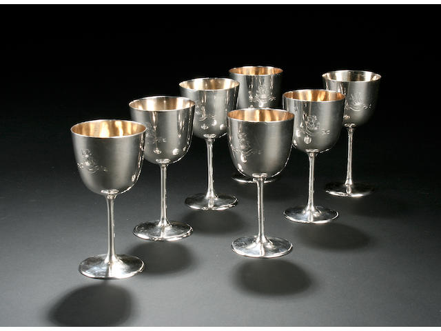A set of four Victorian wine goblets by Frederick Elkington, Birmingham 1869,