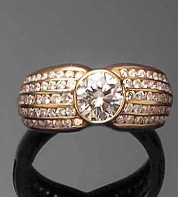 A diamond-set modern ring