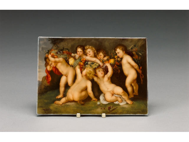 A Continental porcelain plaque, late 19th century, after Rubens,