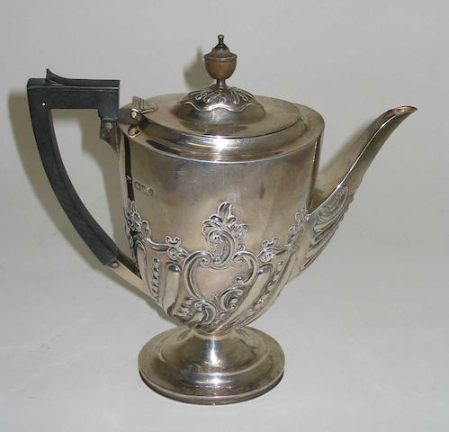 A late Victorian coffee pot,