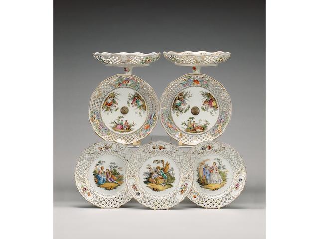 A Dresden porcelain composite pierced dessert service, circa 1900,