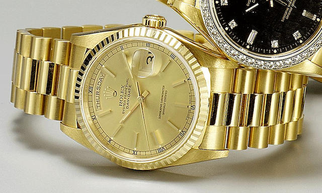 Rolex. An 18ct gold automatic calendar bracelet watch with fitted factory box and papers Ref:18238, 1993