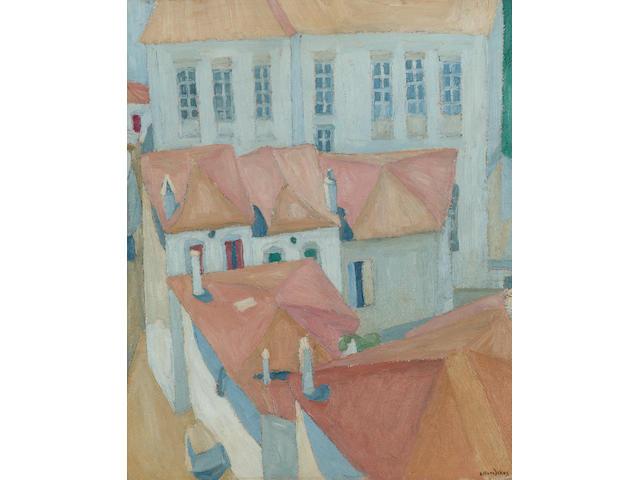 Spyros Papaloukas (1892-1957) School in the island Lesvos 32.5 x 26.5 cm. (12 3/4 x 10 1/2 in.)