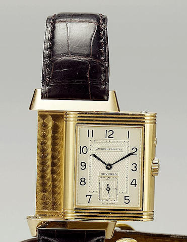 Jaeger Le Coultre. A fine 18ct rose gold dual dial reversible wristwatch Night and Day, No.2031638, Sold 17th February 2004