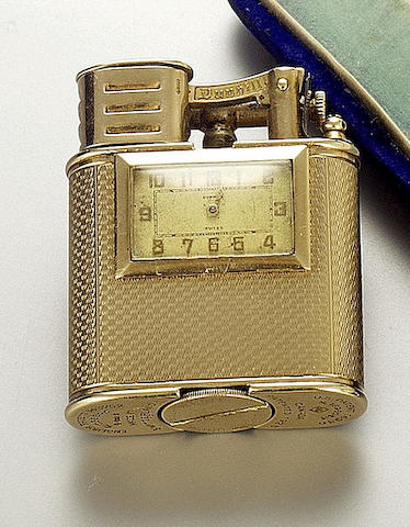 Dunhill. A rare 9ct gold lighter watch 1930s