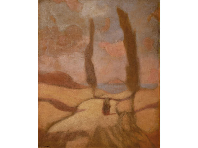Michalis Economou (1888-1933) Landscape with Cypress 60 x 50 cm. (23 1/2 x 19 3/4 in.)