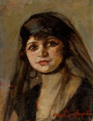 Thalia Flora–Caravia (1871–1960) Oriental beauty 28 x 21 cm. (11 x 8 1/4 in.)
